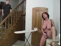 Redhead mother I'd like to fuck Receives Anal From A Youthful Fellow On The Stairs