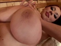 Merilyn Sakova in the sauna
