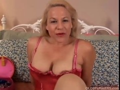 Glamorous aged golden-haired is a squirter