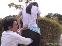 Amazing Japanese AV Model is a horny teen getting outdoor sex