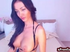 Beautiful Brunette Girl Rubs Clit On Webcam
