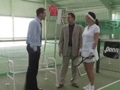 Horny babe pounded on tennis court