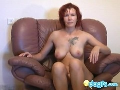 Redhead mom of 45 yo shows to her guy that she's the queen of sluts