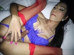 Asian ladyboy gives the best POV blowjob and handjob