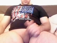 Juicy guy is jerking off in the apartment and filming himself on webcam