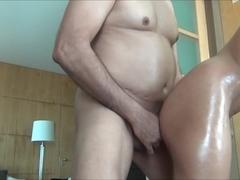 asian wife deepthroating her hubby (homemade)