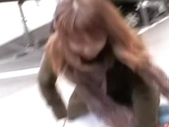 Nice shirt sharking video of really pretty brown-haired minx