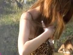 Public nudity with stunning brown-haired amazing babe getting caught in sharking web