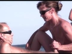 French nudist beach handjob blowjob brunette voyeur