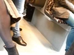 Beautiful Candid Legs in Black Pantyhose