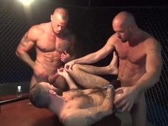 Gaytanamo - Hairy muscle bareback prison threesome