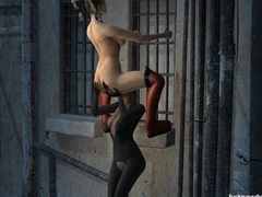 Catwoman shows harley's pretty kitty a little attention
