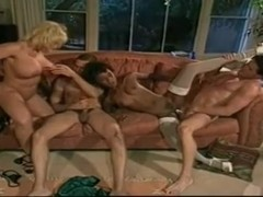 Interracial 4some Busty Blonde Milf and Black Teen