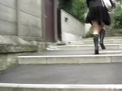 Asian babe in high heels gets skirt sharked hardcore.