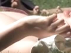 Girl in the park bikini downblouse tits slip voyeured