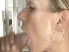 German blonde gets cum on face after hardcore shagging