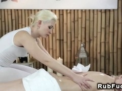 Blonde masseuse gets pussy vibed