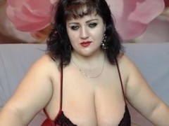 Fat tramp Clau shows her jugs on webcam