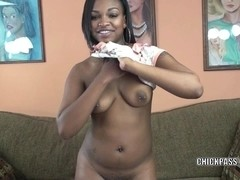Horny coed Nikki Ford is fingering her ebony twat