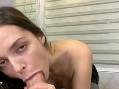 Dominant Brunette Teen gives Oiled Footjob. Huge Cumshot on Soles!