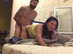 Lover Fucking her while she is on phone with cuckold husband (Hurt me)
