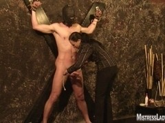 Lady Jenny tortures bondman bound to the wall