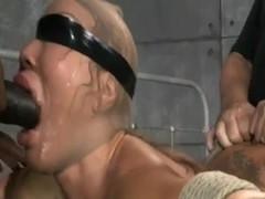 Asian bimbo slut creampied during bondage spitroasting
