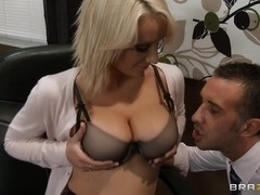 Big Tits at Work: Swallowing her Boss