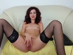 Small tits camgirl JennaJayy riding dildo