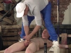 Bound twink Leo Ocean jerked off before cumming by maledom