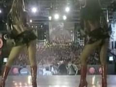 Upskirt fan voyeur video on a latino rap concert