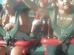 Girl on the attraction naked tit down blouse