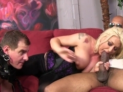 Cuckold watching his Hotwife Leya Falcon banging with a massive black dick