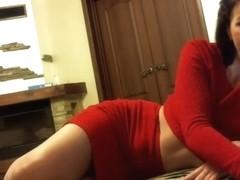 strip down red dress hot milf bang