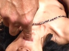 Sexy brunette hair in leotard acquires anal and a large facial