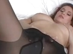 Beauty masturbating in darksome hose