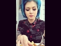 blue hair girl eating burping AND farting !