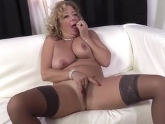 Dirty Minded Blonde Mature Is Sucking And Riding A Big, Black Dick In The Living Room