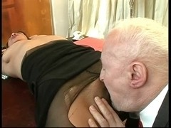 Creepy Old Boy Rips Her Stockings And Copulates Her Booty