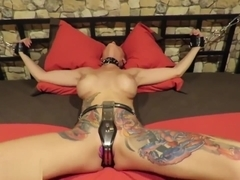Tied to bed Tanya Virago woken up with two dildos inside has many orgasms