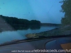 new girl gets naked next to river and masturbates in my truck