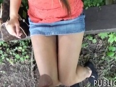 Huge boobs amateur Eurobabe pussy drilled in the park