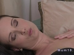 Sexy mature lady in lingerie banging by tanned man