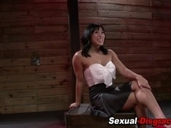 Bound throated asian gags on cock