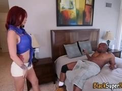 Slut slurps black cock