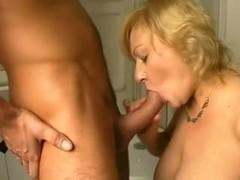 Blonde MILF sucks and fucks passionately