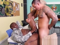 Inked military hunk training his cock on majors ass