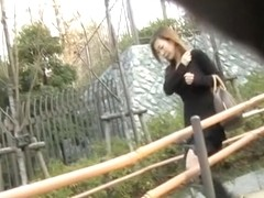 Cunt flashing action with leggy Japanese sweetie getting pulled into sharking