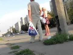 Nice amateur blonde babe with sexy legs upskirt video