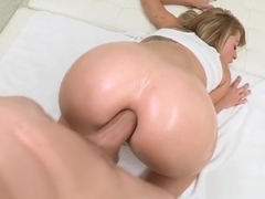 Huge cock slips into Zoey Monroe's tight ass